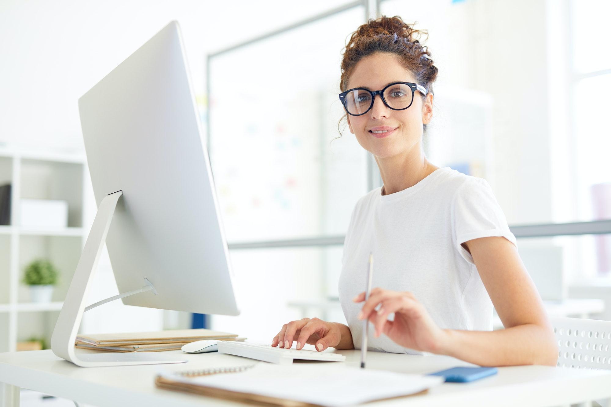 secretary in eyeglasses